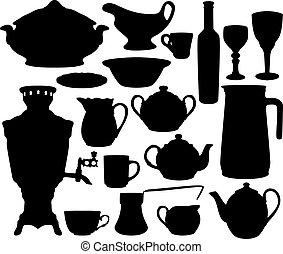 silhouettes, ensemble, plats