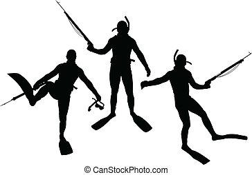 silhouettes, ensemble, plongeur