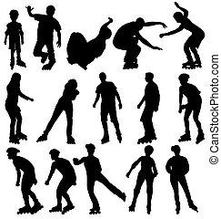silhouettes, ensemble, rollerblade