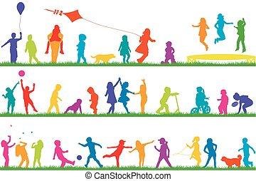 silhouettes, extérieur, enfants jouer, coloré