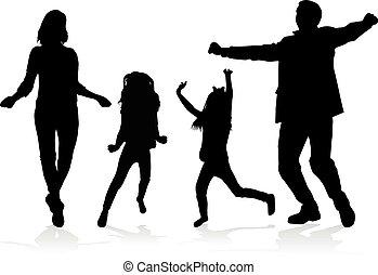 silhouettes., famiglia