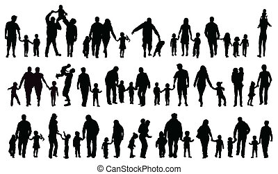 silhouettes, famille