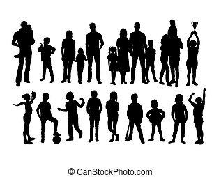 silhouettes, famille, enfants, gosse, heureux
