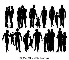 silhouettes, famille heureuse, frais