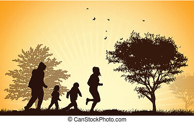 silhouettes, famille, heureux