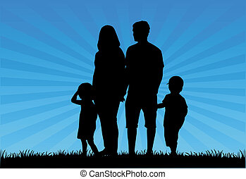 silhouettes, famille, illustration, -