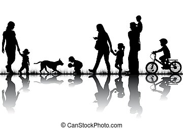 silhouettes, famille,  nature