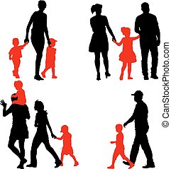 Silhouettes Family on white background. Vector illustration.