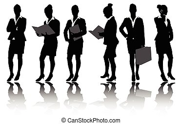 silhouettes, femme affaires