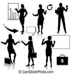 silhouettes, femme, ensemble, business