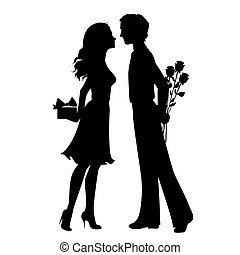 silhouettes, femme, homme