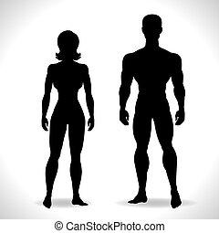 silhouettes, femme, noir, color.