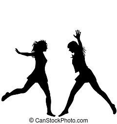 silhouettes, femme, sauter