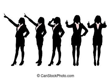 silhouettes, femmes affaires