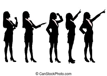 silhouettes, femmes, business