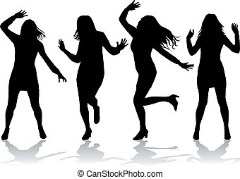 silhouettes., femmes