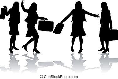 silhouettes., femmes