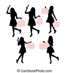 silhouettes, femmes commerciales