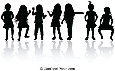 silhouettes, filles