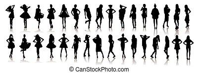 silhouettes, filles, modèle, vecteur, beau, divers