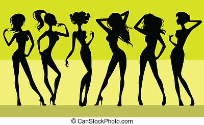 silhouettes, filles, six