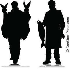 silhouettes, fish, vecteur, deux, homme
