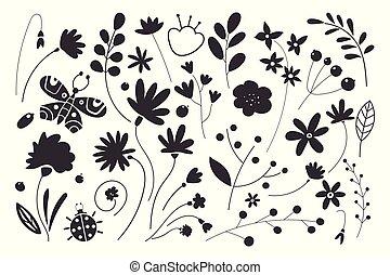 silhouettes, fleurs, noir, arrière-plan., ensemble, feuille, blanc, leaves.