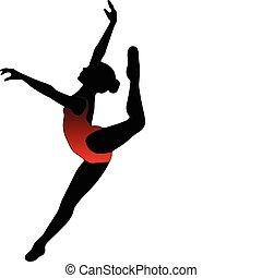 silhouettes, flicka, dans, balett