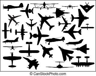 silhouettes, flygplan