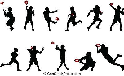 silhouettes, football, américain