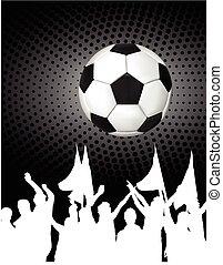 silhouettes, (football), balle, ventilateurs, football