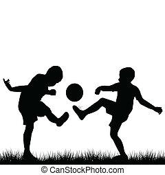 silhouettes, football, enfants jouer
