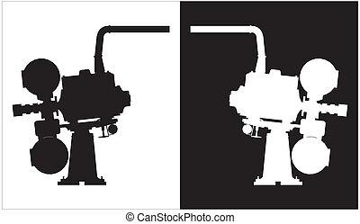 silhouettes, fototoestel, oud, projector