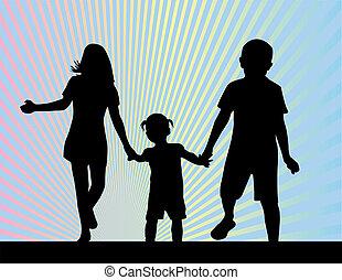 silhouettes, frères soeurs, -