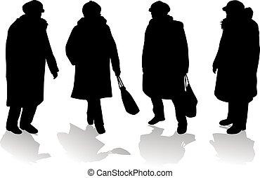 silhouettes., frauen