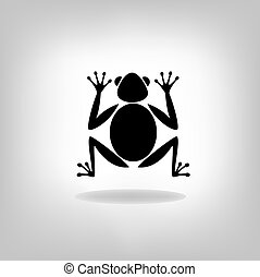 Silhouettes frog-vector, on white background