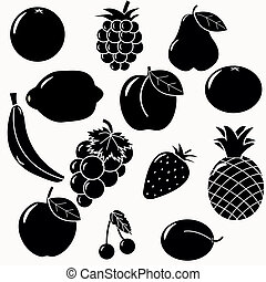 silhouettes, fruits