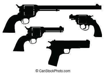silhouettes, fusil, main