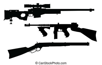 silhouettes, fusil