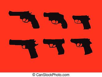 silhouettes, fusils, main