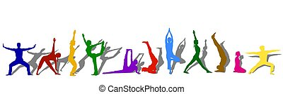 silhouettes, gekleurde, yoga