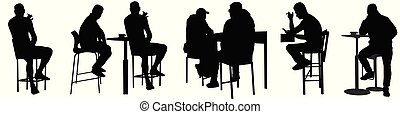 silhouettes, gens, barre, public, séance