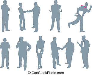 silhouettes, gens, bureau, business