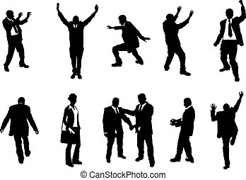 silhouettes, gens, concept, business