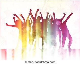 silhouettes, gens, danse, heureux