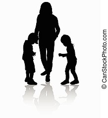 silhouettes, gens, dehors