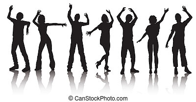 silhouettes, gens, jeune, danse