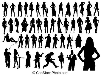 silhouettes, gens