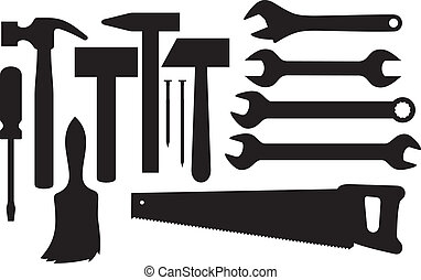 silhouettes, gereedschap, hand