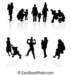 silhouettes, gezin